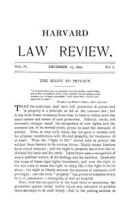 "The ""Right to Privacy"" by Samuel D. Warren and Louis Brandeis. CC attribution/public domain file first published before Jan. 1 1923."