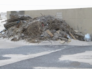Trash piled up for months after the superstorm.